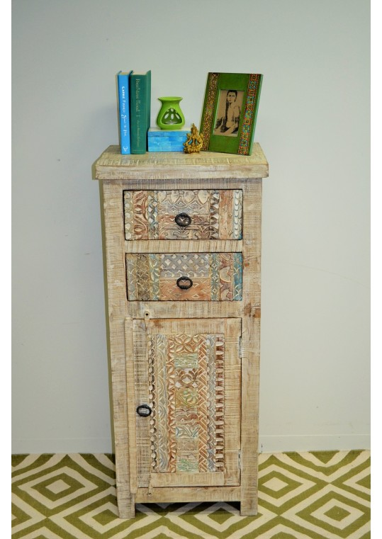 Hand Carved Shabby Chic Timber Tallboy