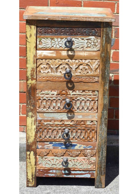 Reclaimed Timber Hand Carved Tallboy Drawer Unit