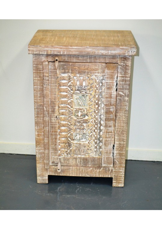 Hand Carved Shabby Chic Bedside/Side Table