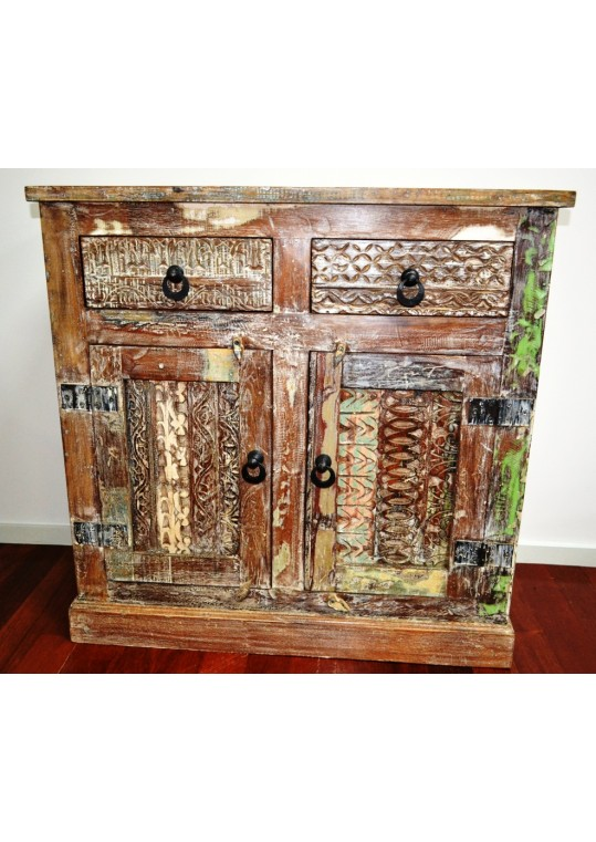 Handcarved Rustic Shabby Chic Sideboard