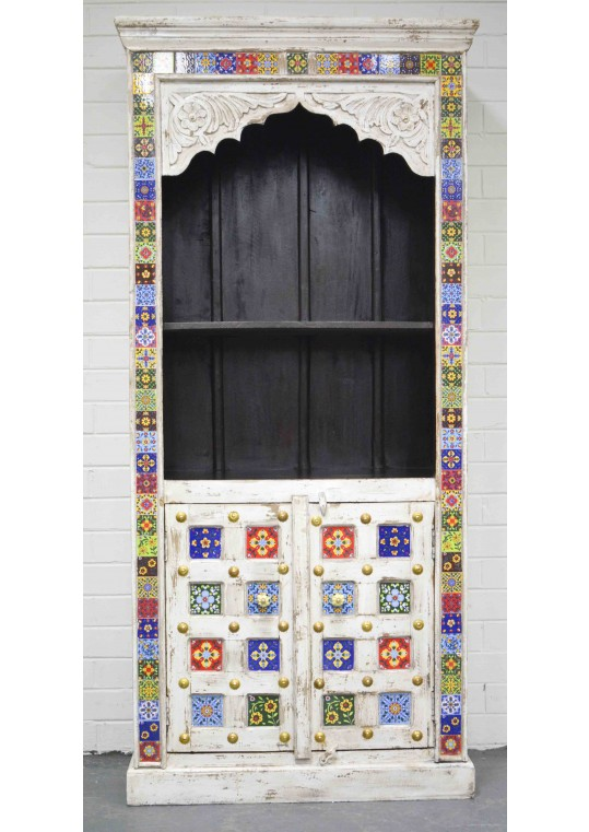 Moroccan Tile Carved Shabby Chic Timber Display Cabinet