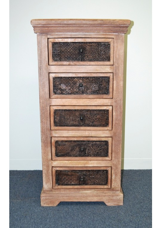 Shabby chic block 5 drawer tallboy