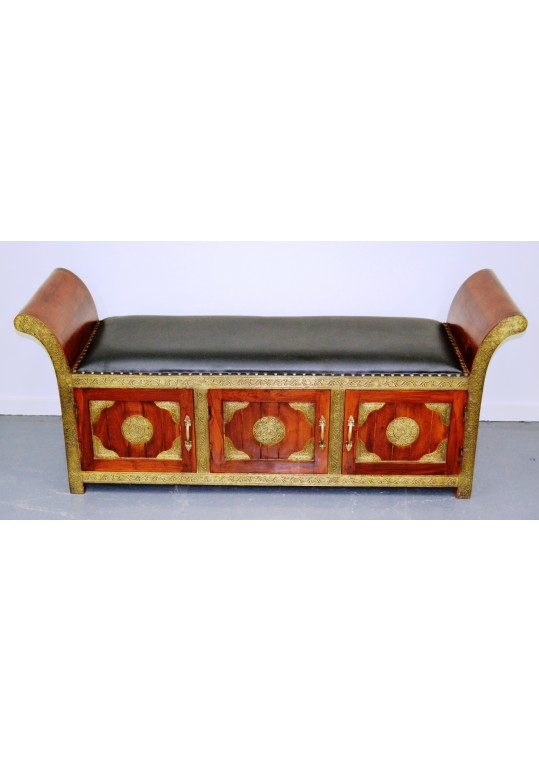 Indian Brass Fitted Leather Roman Seat