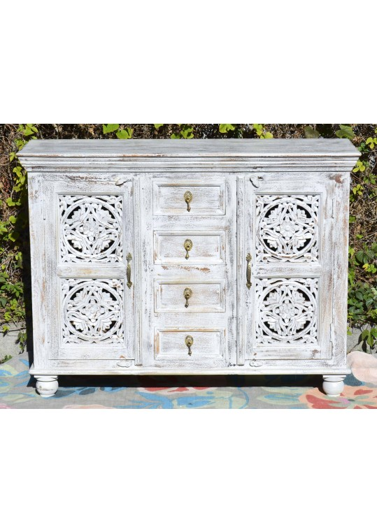 White Shabby Chic Mandala Carved Sideboard Cabinet