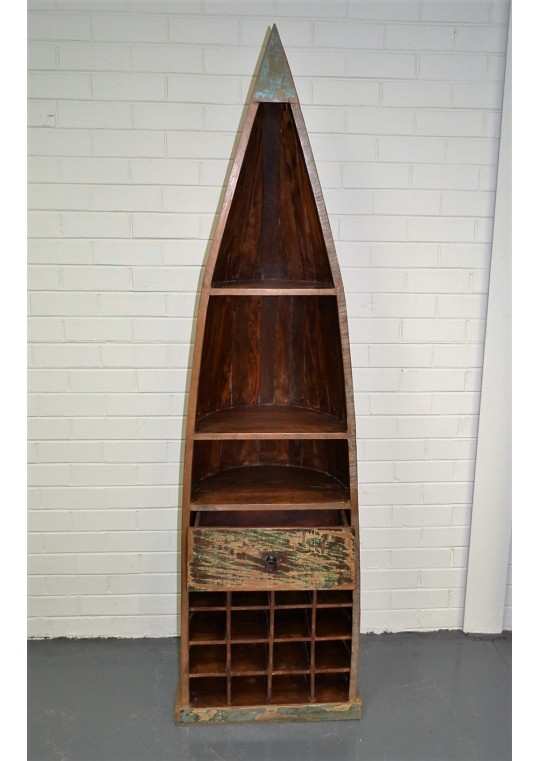 Reclaimed Timber Boat Wine Storage Cabinet
