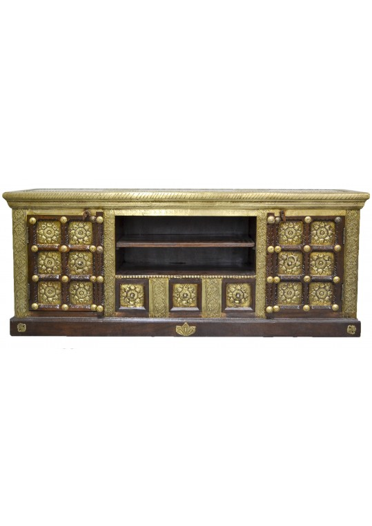 Indian Embossed Brass Timber Entertainment Unit