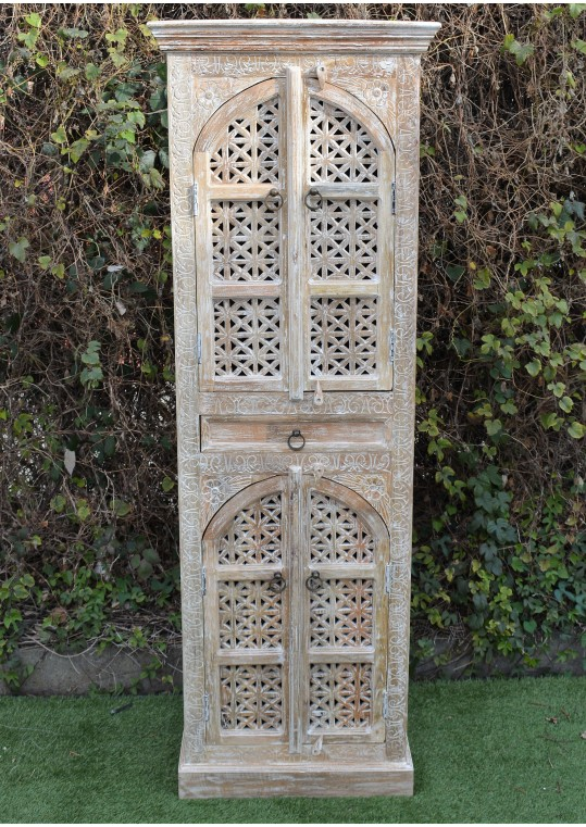 Tall Distressed Finish Hand Carved Mehrab Cabinet