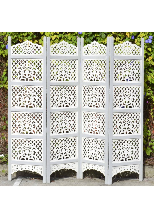 Grey & White Shabby Chic Hand Carved Indian Timber Screen