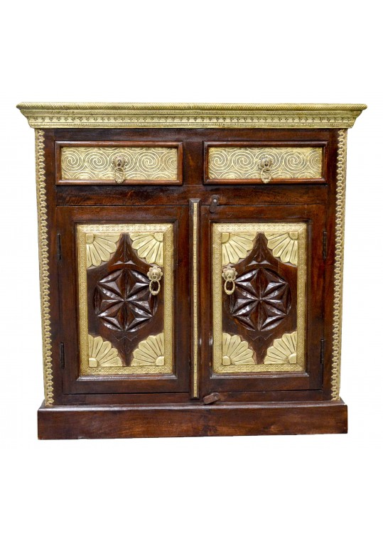 Carved Indian Timber & Brass Sideboard Cabinet