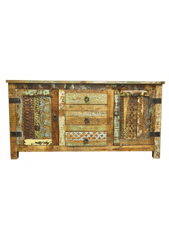 Hand Carved Reclaimed Timber Sideboard