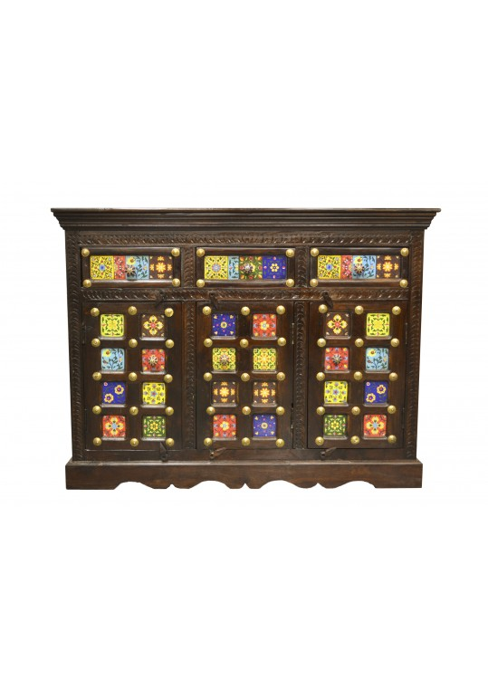 Moroccan Tile and Brass Sideboard