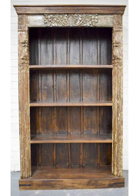 Reclaimed Timber Hand Carved Antique Bookshelf