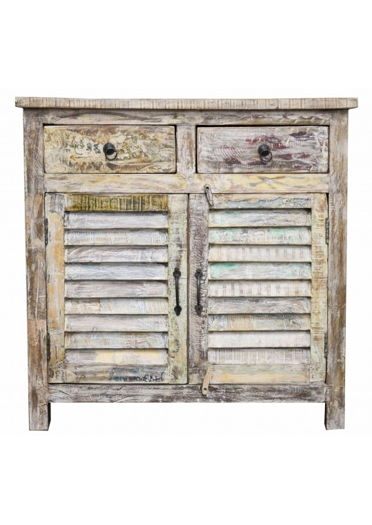 Shabby Chic Timber Reclaimed Shutter Sideboard Cabinet