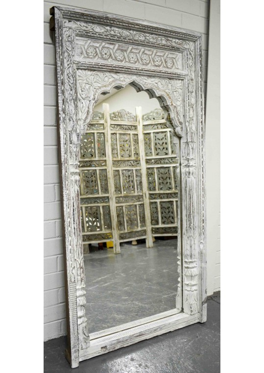 White Vintage Indian Mehrab Antique Mirror
