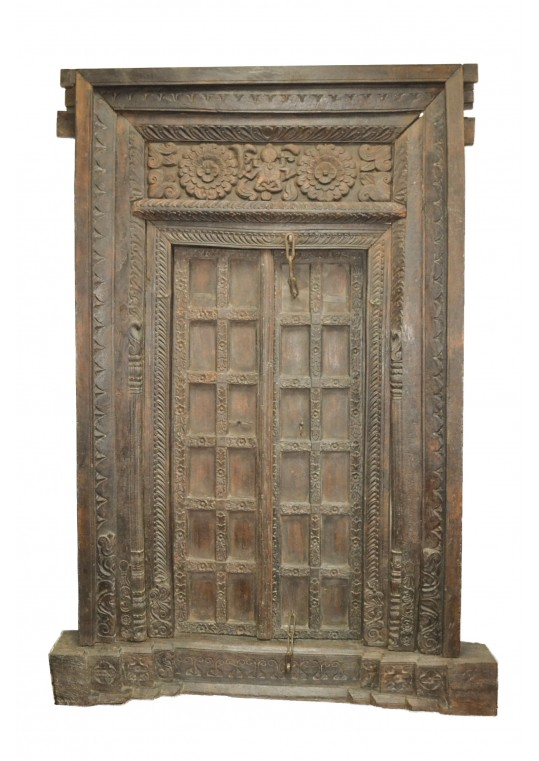 Antique Timber Hand Carved Indian Door