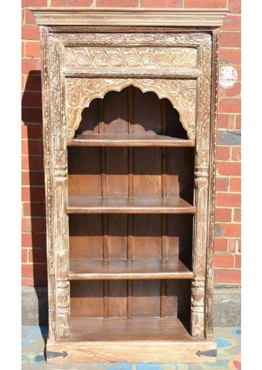 Whitewashed Hand carved Mehrab Antique bookshelf