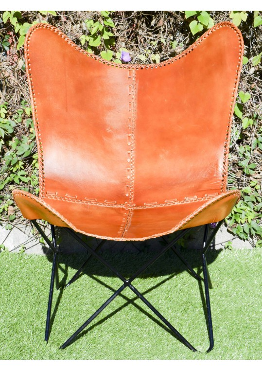 Vintage Industrial Tan Leather Butterfly Chair