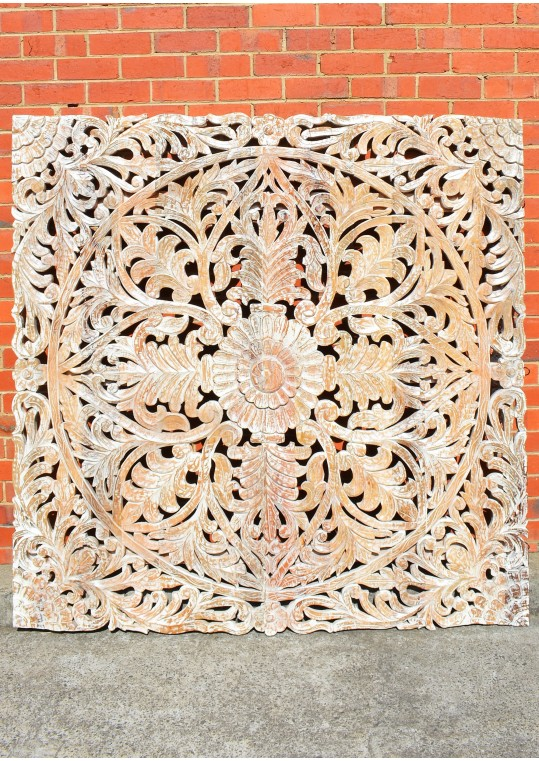 Hand Carved Antique Timber Large Wall Art Panel