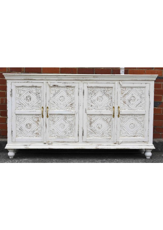White Shabby Chic Carved Reclaimed Timber Sideboard Buffet