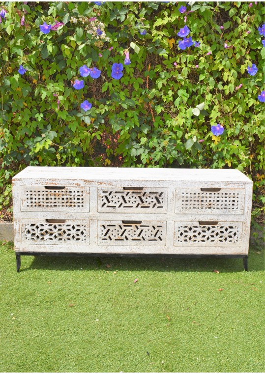 Hand Carved Shabby Chic French Country Lowline Drawer Unit