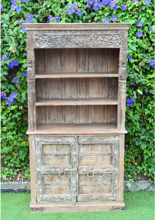 Antique Reclaimed Timber Hand Carved Bookshelf Cabinet