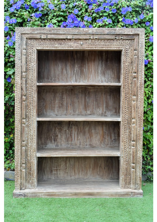 Hand Carved Antique Reclaimed Timber Large Bookshelf