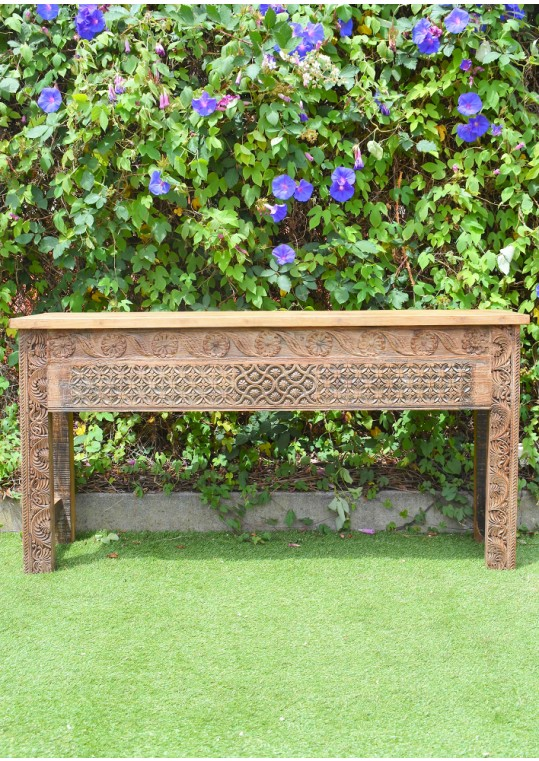 Reclaimed Distressed Timber Hand Carved Indian Console Hall Table