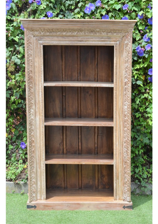 Reclaimed Timber Antique Carved Shabby Chic Bookshelf