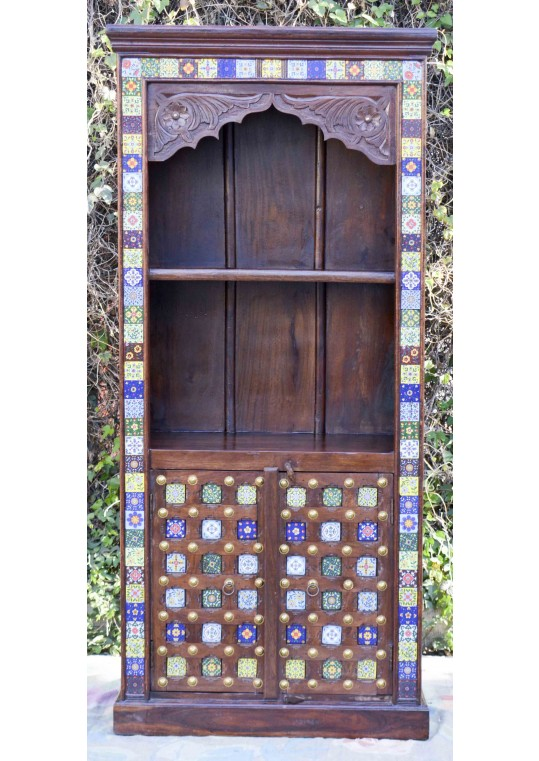 Hand Carved Timber Moroccan Tile Display Shelf