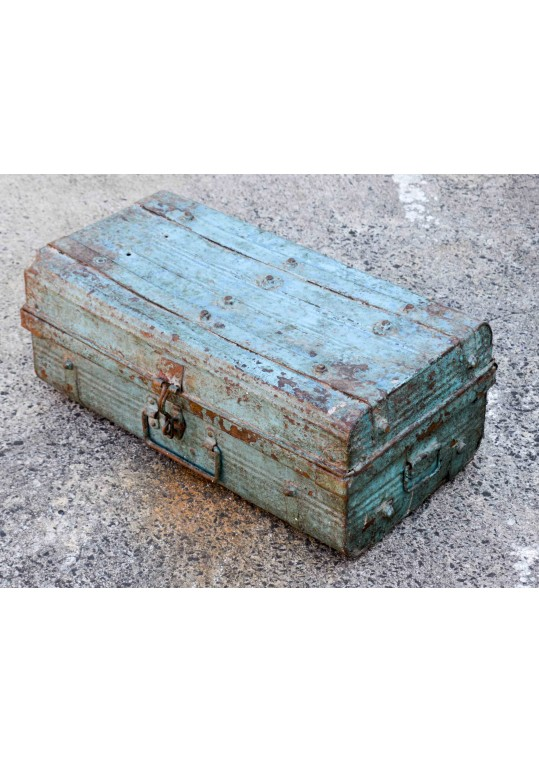 Blue Vintage Metal Travel Trunk Storage Case