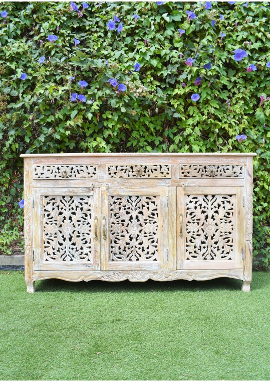 French Provincial Shabby Chic Floral Hand Carved  Buffet Sideboard