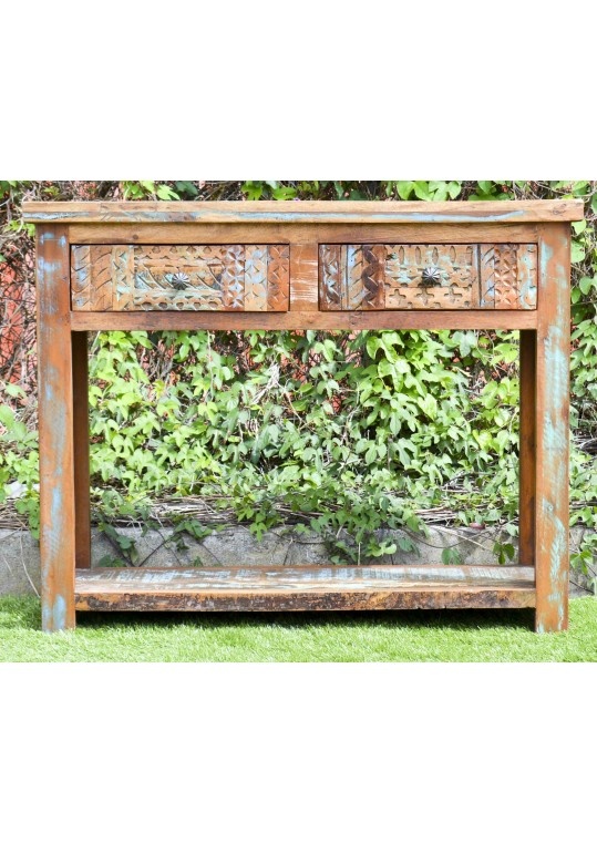 Hand Carved Recycled Timber 2 drawer console hall table