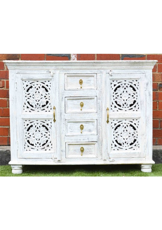 Shabby Chic White Mandala Carved Sideboard Cabinet