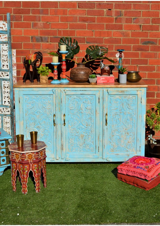Blue Teak Top Hand Carved French Provincial Buffet Sideboard