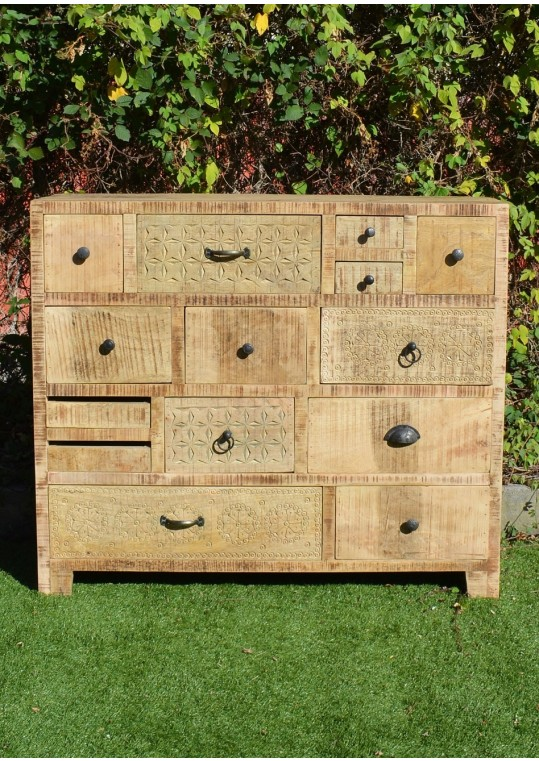 Scandinavian Timber Vintage Multi-drawer Sideboard