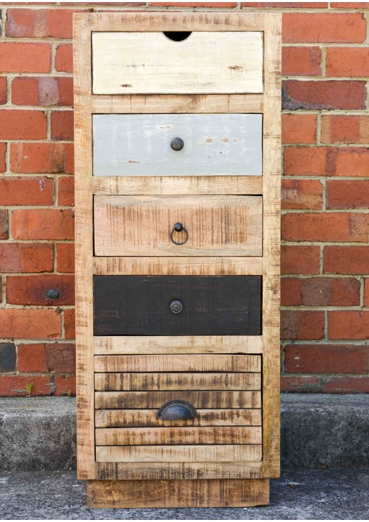Scandinavian Vintage Timber Tall Drawer Unit