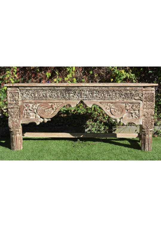 Reclaimed Indian Antique Hand Carved Timber Console Hall Table