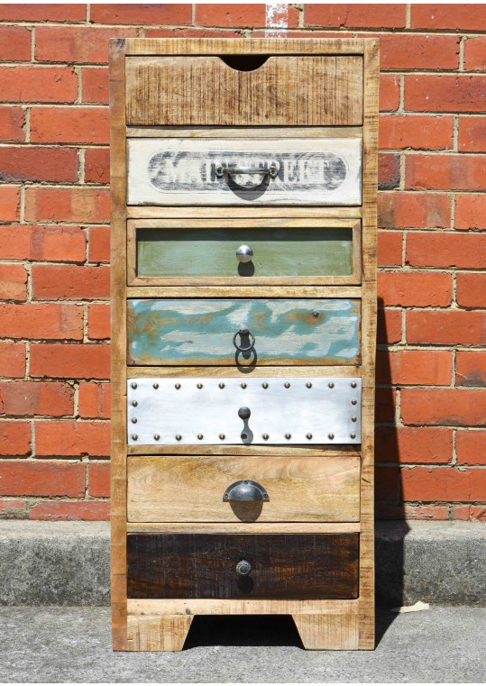 Vintage Industrial Timber Tallboy Drawer Unit