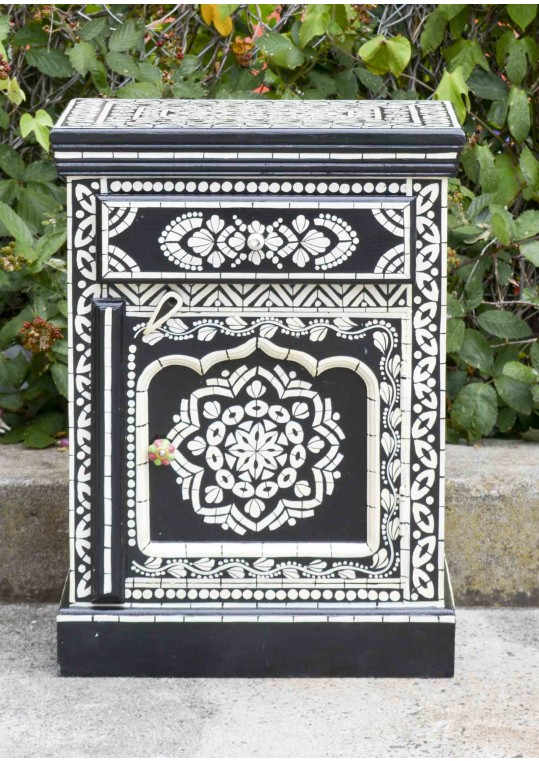 Black Hand Painted Bone Inlay Bed Side Table