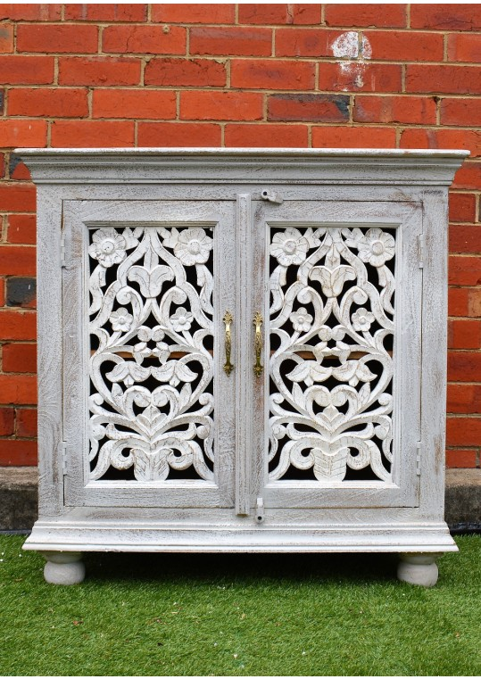 Blue & white Sandblasted French Provincial Shabby Chic Sideboard Cabinet