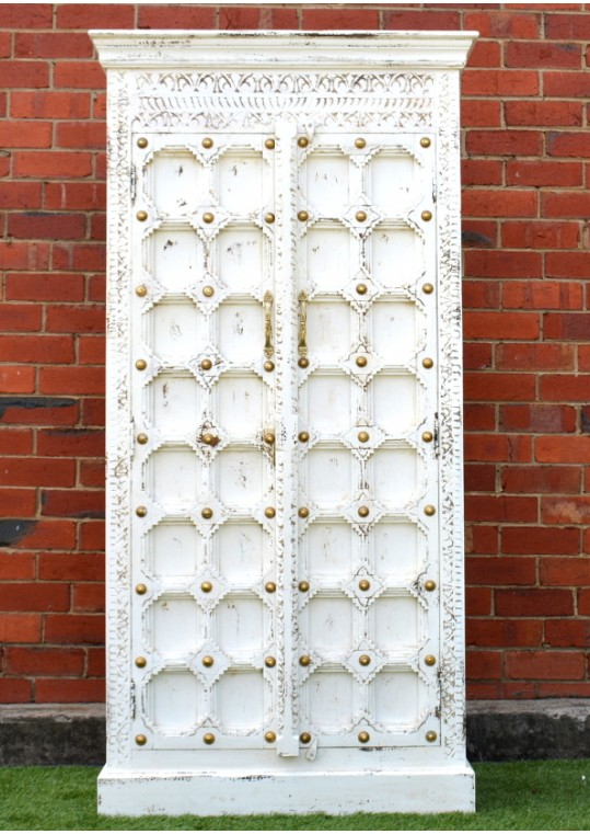 Shabby Chic Bright White Antique Door Timber Wardrobe