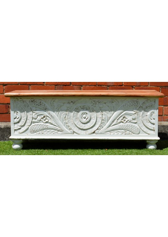 Hand Carved Distressed White Floral Blanket Box