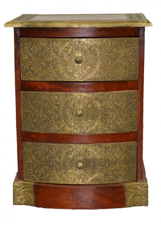 Indian Teak Embossed Brass 3 drawer bedside