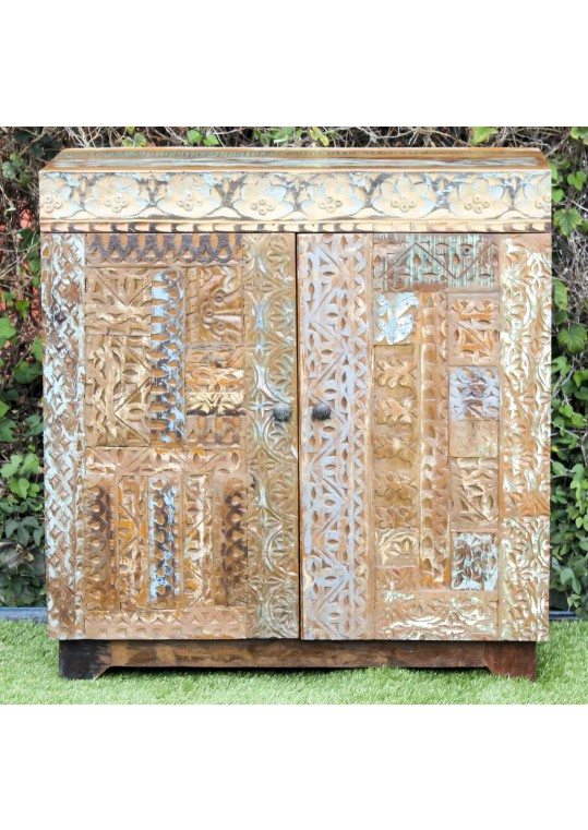 Handcarved Recycled Timber Front Sideboard Vanity Cabinet