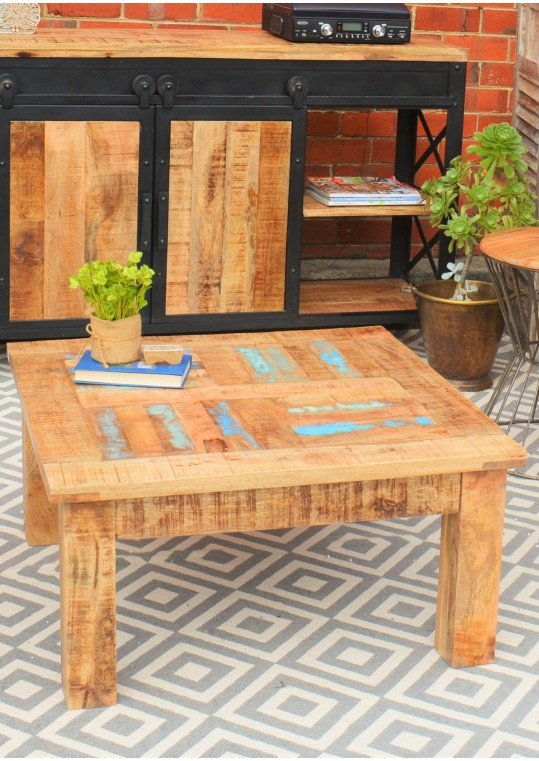 Reclaimed Timber Parquet Country Coffee Table