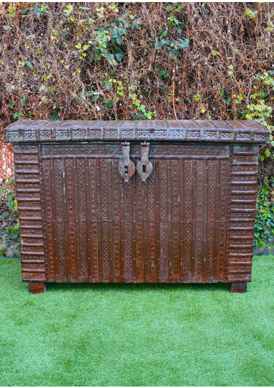 Indian Antique Timber Metal Dowry Chest Blanket Box