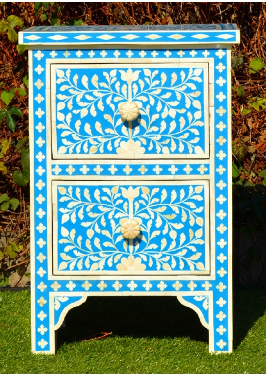 Blue Genuine Bone Inlay Bedside