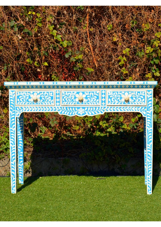 Blue Genuine Bone Inlay Console Hall Table