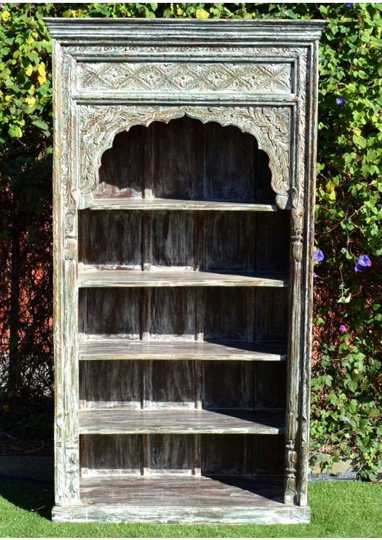 Antique Mehrab Large Carved Indian Timber Bookshelf