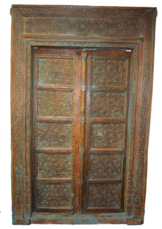 Hand Carved Floral Pattern Timber Antique Indian Door